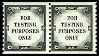 Lot 4758:1962 Coil Test Stamps Sc #62b black 'FOR TESTING PURPOSES ONLY' Imperf xP10 pair with pebble surfaced gum.