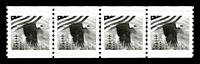 Lot 4262:1982 Coil Test Stamps black eagle & flag Imperf xP10 strip of 4. [Produced for the 1992 World Columbian Fair in Chicago.]