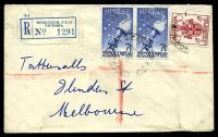 Lot 2616 [1 of 2]:Moorleigh: - WWW #10A 'MOORLEIGH S.E.13/?DE56/VIC-AUST' on 4d & 7½d Olympics pair on registered cover with blue registration label. [Rated 3P]  PO 22/3/1954; closed 31/10/1988.