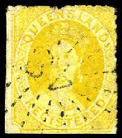 Lot 1132:1860-61 Small Chalon Wmk Small Star Rough Perf 14-16 SG #20 (6d) Registered imperf on 2 sides, cancelled with '48'