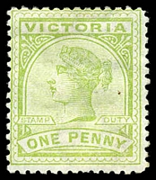 Lot 2177:1886-96 New Stamp Duty Designs Wmk 2nd V/Crown SG #312a 1d yellow-green, Cat £11, hinge remainder.