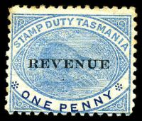 Lot 10595:1900 Overprinted 'REVENUE' 1d blue Platypus SG# F36, a few toned perfs.