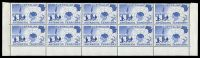 Lot 3488:1957 Map SG #1 bottom marginal block of 10