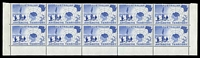 Lot 16496:1957 Map SG #1 bottom marginal block of 10