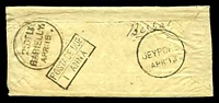Lot 4179:Jeypore: 'JEYPORE/APR:13' on small stampless cover to Barielly, boxed 'POSTAGE DUE/1 ANNA' (A1+) backstamp.