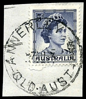 Lot 1179:Annerley: 'ANNERLEY    /7AU63/QLD·AUST' (S.3 removed - LRD) on 5d blue. [Rated 3R]  Renamed from Boggo PO c.1892; RO c.-/9/1906; PO c.1914; RO c.1920; PO 1/6/1922.