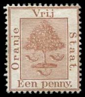 Lot 27003:1868-94 Arms SG #2 1d red-brown, Cat £13.