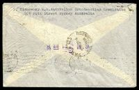 Lot 5300 [2 of 2]:1939 use of 3d, 6d large kooka & 1/- small lyrebird on air cover to France.