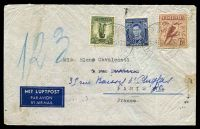 Lot 999 [1 of 2]:1939 use of 3d, 6d large kooka & 1/- small lyrebird on air cover to France.