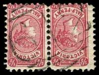 Lot 12419:612: on ½d pink Bantam pair.  Allocated to Corop-PO 1/1/1868; LPO 30/5/1994.