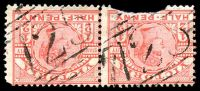 Lot 11962:725: 2 strikes on ½d pink pair (1 damaged).  Allocated to Eurambeen-PO 1/1/1871; closed 30/11/1951.