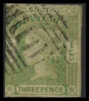 Lot 4960:1852 Imperf Laureates No Wmk Medium Greyish Blue Wove Paper SG #67 3d dull yellow-green 3-margins, Cat £100.