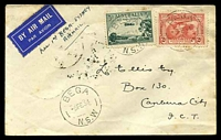 Lot 1015 [1 of 2]:1934 Adastra Bega - Sydney AAMC #354 with 2d Kingsford Smith & 3d Airmail booklet stamp (Cat $125) on cover to Canberra, Cat $75, a few tonespots.