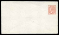 Lot 906:1870-87 QV HG #B1b 1d dull rose on laid paper with no seal on pointed flap, size a.
