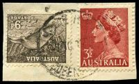 Lot 1523:Home Hill: - poor 25mm 'HOME H[ILL]/7OC1955/QUEENSLAND' (LRD) on 3½d red QEII & 9d. [Rated R]  RO c.-/10/1912; PO c.1913.