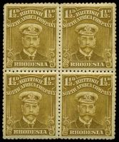 Lot 4352:1922-24 Admirals Single Plate Perf 14 White Paper SG #287 1½d brown-ochre block of 4, Cat £34.
