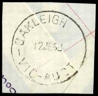 Lot 2645:Oakleigh (1): - WWW #100B 'OAKLEIGH      /12JE68/VIC-AUST' (SE.12 removed, arcs 3,2). [Rated 4P - the only recorded date.]  PO 1/8/1854; replaced by Oakleigh Delivery Centre DC 27/9/1993.