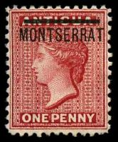Lot 25875:1876-83 Overprinted Stamps of Antigua Perf 12 SG #6 1d red, Cat £70.