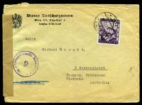Lot 19956:1947 use of 60g Pictorials on cover to Melbourne, plain brown censor tape at left, '9' censor handstamp on face.