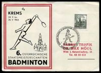 Lot 19947 [1 of 2]:1963 Badminton Competition on special Postcard with 30g Viena Town Hall, 20g Old Courtyard Mörbisch on back cancelled with 'ST,PÖLTNER KULTUR-UND FESTWOCHEN.BRIEFMARKEN/BSV/ST.PÖLTEN/AUSSTELLUNG/24.5.63/ST.PÖLTEN 1' (A1).