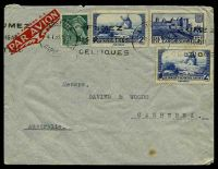Lot 22253:1939 use of 25c Mercury, 2f Daudet's Mill x2 & 5f Carcassone, cancelled with 'MARSEILLE/4 1 39.19H/CAPUC[?]