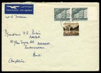 "Lot 4421:1955 use of 1955 5c+5c pair & 30c+10c Pro Patria on air cover to England, erroneously endorsed ""Jour d'Emission"", folded."