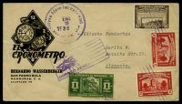 "Lot 3922 [1 of 2]:1938 (Jan) use of 1c Tegucigalpa, 2c Comayagua Cathedral x2 & 50c Royal Palace on attractive 'EL CRONOMETRO' advertising cover, airmail to ""Jüdische Rundschau"" Berlin."