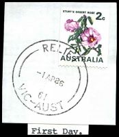 Lot 2860:Patterson Lakes: - 'RELIEF/1AP86/61/VIC-AUST' (First Day) on 2c Coil. [Used 1/4/86 to 4/8/86.]  PO 1/4/1986; LPO 3/8/1993.