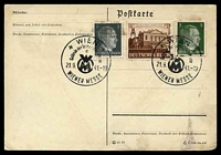 Lot 19156:1941 Weiner Messe on 1(pf) grey & 5(pf) green Hitler & 3(pf) Leipzig Messe on water damaged plain Post Card.