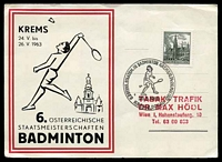 Lot 19157 [1 of 2]:1963 Badminton Competition on special Postcard with 30g Viena Town Hall, 20g Old Courtyard Mörbisch on back cancelled with 'ST,PÖLTNER KULTUR-UND FESTWOCHEN.BRIEFMARKEN/BSV/ST.PÖLTEN/AUSSTELLUNG/24.5.63/ST.PÖLTEN 1' (A1).
