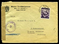 Lot 19029:1947 use of 60g Pictorials on cover to Melbourne, plain brown censor tape at left, '9' censor handstamp on face.