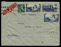 Lot 21314:1939 use of 25c Mercury, 2f Daudet's Mill x2 & 5f Carcassone, cancelled with 'MARSEILLE/4 1 39.19H/CAPUC[?]
