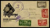 "Lot 20185 [1 of 2]:1938 (Jan) use of 1c Tegucigalpa, 2c Comayagua Cathedral x2 & 50c Royal Palace on attractive 'EL CRONOMETRO' advertising cover, airmail to ""Jüdische Rundschau"" Berlin."