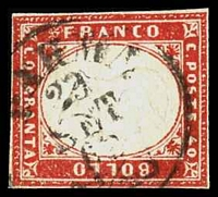 Lot 3841:1855-63 Victor Emmanuel II Embossed SG #53 40c red-carmine on thick paper, 4 close/touching margins, Cat £75, cancelled with poor Parma of 23/set of 62.
