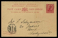 Lot 24949 [1 of 2]:1903 Badge HG #8 1d+1d carmine, cancelled with light Montserrat of JY12/1905, philatelic use to Berne Switzerland.