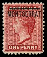 Lot 4372:1876-83 Overprinted Stamps of Antigua Perf 12 SG #6 1d red, Cat £70.