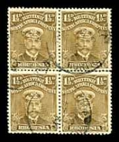 Lot 4102 [1 of 3]:1913-19 Admirals Single Plate Perf 14 SG #198 1½d bistre-brown block of 4, left 2 units with Joined ½.