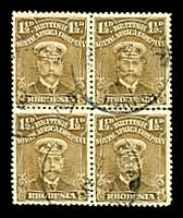 Lot 4102 [1 of 3]:1913-22 Admirals Single Plate Perf 14 SG #198 1½d bistre-brown block of 4, left 2 units with Joined ½.