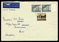 "Lot 28127:1955 use of 1955 5c+5c pair & 30c+10c Pro Patria on air cover to England, erroneously endorsed ""Jour d'Emission"", folded."