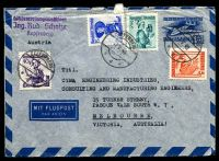 Lot 3514:1949 (May 7) use of 5g, 40g, 1s & 2s Costumes on 1s Aerogramme to Australia.
