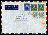 Lot 19998:1948 use of 50c Arms pair, 3f15 Plateau & 5fr '-10%' pair on air cover to Australia, quite spotty.