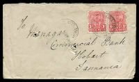Lot 6580 [1 of 2]:Coolamon: - 2 strikes of 'COOLAMON/10JE06315PM/N.S.W' (error for 1907) on 1d Arms x2 on Tatt's cover.  Renamed from Ganmain PO 1/11/1881.