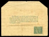 Lot 1520:1892 QV With Lined Background HG #E1 ½d green, wove cream paper, end of text above S of QUEENSLAND, no gum, top corners cut-off, soiled face. [This appears to be the first state of the E1 series of wrappers. The corners were apparently removed to make the wrapper easier to handle.]