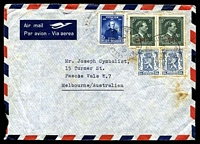 Lot 17065:1948 use of 50c Arms pair, 3f15 Plateau & 5fr '-10%' pair on air cover to Australia, quite spotty.