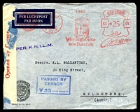 Lot 4150:1939: use of stampless air cover to Melbourne, cancelled with Gravenhage Borneo Sumatra Handel Maatschappij 25c meter of 19.9.39 with advertising for Westinghouse refridgeraters, violet straight-line 'PER K.N.I.L.M.' on face, censor tape at left and boxed blue 'PASSED BY CENSOR/V32......' (A1) also on face, some insect damage but a very early censored cover. [Australia declared war on 3/9/1939.]