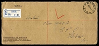 Lot 2035:Bagdad: - 'BAGDAD/10AU64/TAS' on stampless strip with blue registration label.  PO 1/12/1878.