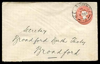 Lot 11474:1904 1d Reading Die II Stieg #KB23B(1) dull rose size c, for 'Barrow Brothers', 1904 use to Broadford.