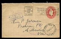 Lot 2905 [2 of 2]:Prahran: - WWW #270A 'PRAHRAN/31AU50/[VIC]-AUST' (arcs 6½,6) backstamp on cover from Hobart, violet boxed '[U]NCLAIMED/[AT] PRAHRAN' (B2) on back & front. [Rated 3P]  PO 1/4/1853.