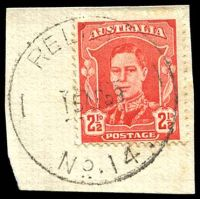 Lot 3116:14: 'RELIEF/15AP39/NO.14.' (error for 1949?) on 2½d red KGVI. [Rated P]