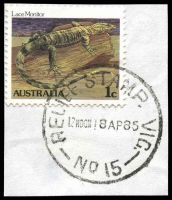Lot 15920:Market Street: - 'RELIEF STAMP. VIC./12NOON18AP86/NO 15' (first day) on 1c. [Used 18/4/1985-24/4/1985]  Renamed from Customs House PO c.-/1/1884; replaced by Collins Street West PO 21/11/1997.